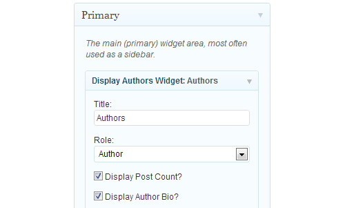 Display Authors Widget