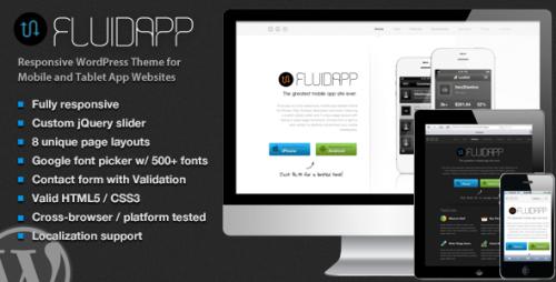FluidApp - Responsive Mobile App WP Theme