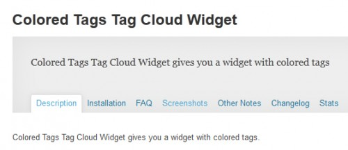 Colored Tags Tag Cloud Widget