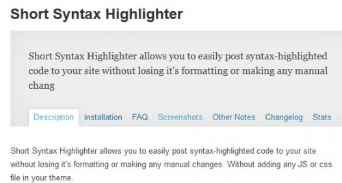 Short Syntax Highlighter