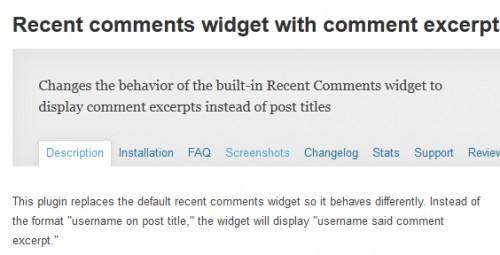 Recent Comments Widget with Comment Excerpts