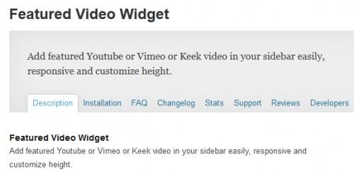 Featured Video Widget