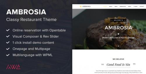 Ambrosia - Classy Restaurant WordPress Theme