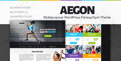 Aegon - Responsive Gym, Fitness Club WordPress Theme