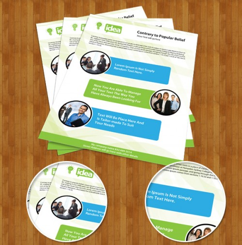 Free Corporate Single Side Brochure PSD Template