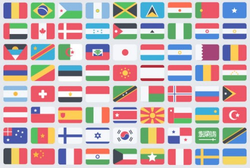 Awesome Free Flat Flag PSD Icons