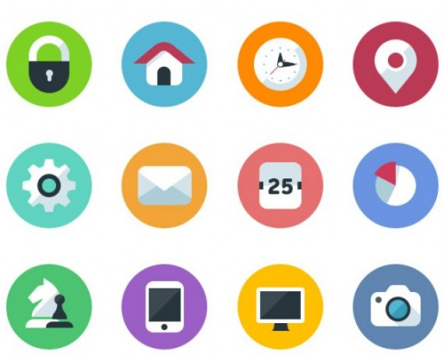 Flat Design Icons in PSD