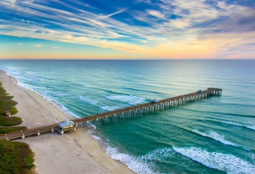 Juno Beach Pier Aerial HDR Photography